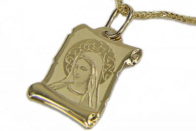 Italian yellow gold Mary medallion icon pendant pm021
