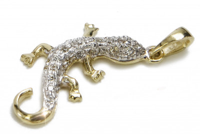 Original Italian yellow gold beautiful lizard pendant cp009