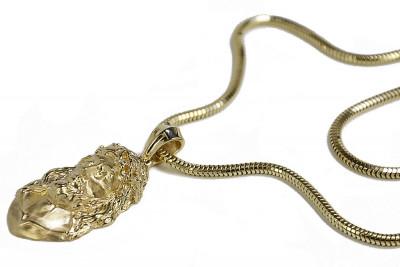 Złota zawieszka Jezus z łańcuchem żmijka pj001ym&cc020y