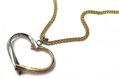 Italian 14k gold modern heart pendant with snake chain pp014yw&cc036y