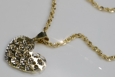 Italian 14k gold modern heart pendant with snake chain pp024yw&cc074y