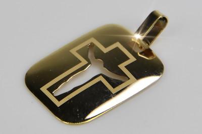 Italian 14k yellow gold Jezus medallion icon pendant pm008