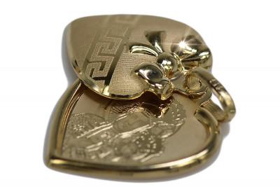 Italian yellow 14k gold Mary medallion icon pendant pm022