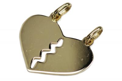 Original Italian yellow white 14k gold beautiful modern lovers heart pendant pp031
