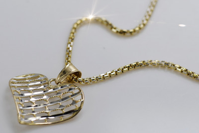 Italian 14k gold modern heart pendant with snake chain pp029yw&cc078yw