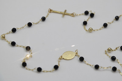 Italian 14k gold rosary onyx Dolce Gabbana chain rc006