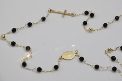 Złoty różaniec 14k 585 z onyxem Dolce Gabbana łańcuszek włoski rc006