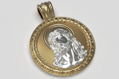 Gold Solver Gold plated Jezus pendant icon cc045stl