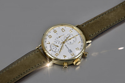 Russian Soviet rose (Italian Yellow) gold men's watch mw053