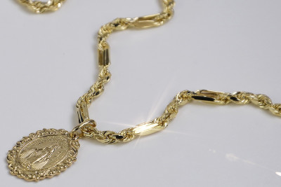 Yellow gold Mother of God medallion & chain Corda Figaro