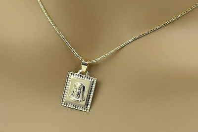 Mother of God medallion & chain Corda Figaro
