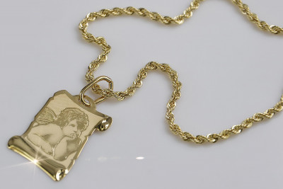 copy of Italian yellow gold Angel medallion & Rope chain