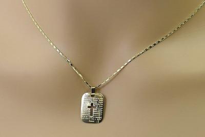 Gold cross bar pendant medallion & chain