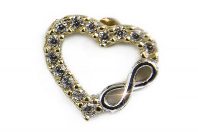 Italian yellow 14k gold heart zircon earrings cec001y