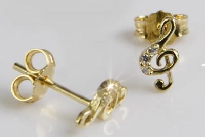 Italian 14k 585 yellow gold treble clef earrings ce003