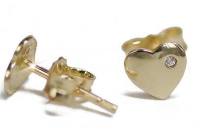 Итальянский желтый 14k 585 золотое сердце циркон серьги ce006