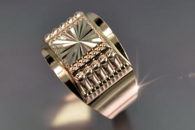 Russian rose Soviet 14k 585  gold Men's signet ring csn002