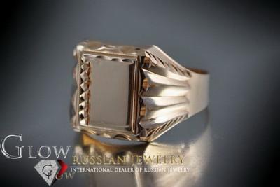 Russian rose Soviet 14k 585  gold Men's signet ring csn014