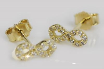 Italian yellow 14k 585 gold infinity zircon earrings ce014