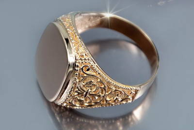 Russian rose Soviet 14k 585  gold Men's signet ring vsn006
