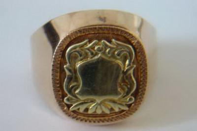 Russian rose Soviet 14k 585  gold Men's signet ring vsc015