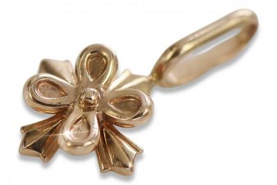 Russian rose pink Soviet 14k 585 gold USSR Vintage flower pendant vpn043