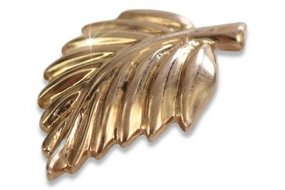 Russian rose pink Soviet 14k 585 gold USSR Vintage leaf pendant vpn054